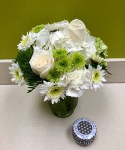 White Ivory & Lime Green Floral Arrangement w/ Citrus Candle - Bergen County, NJ
